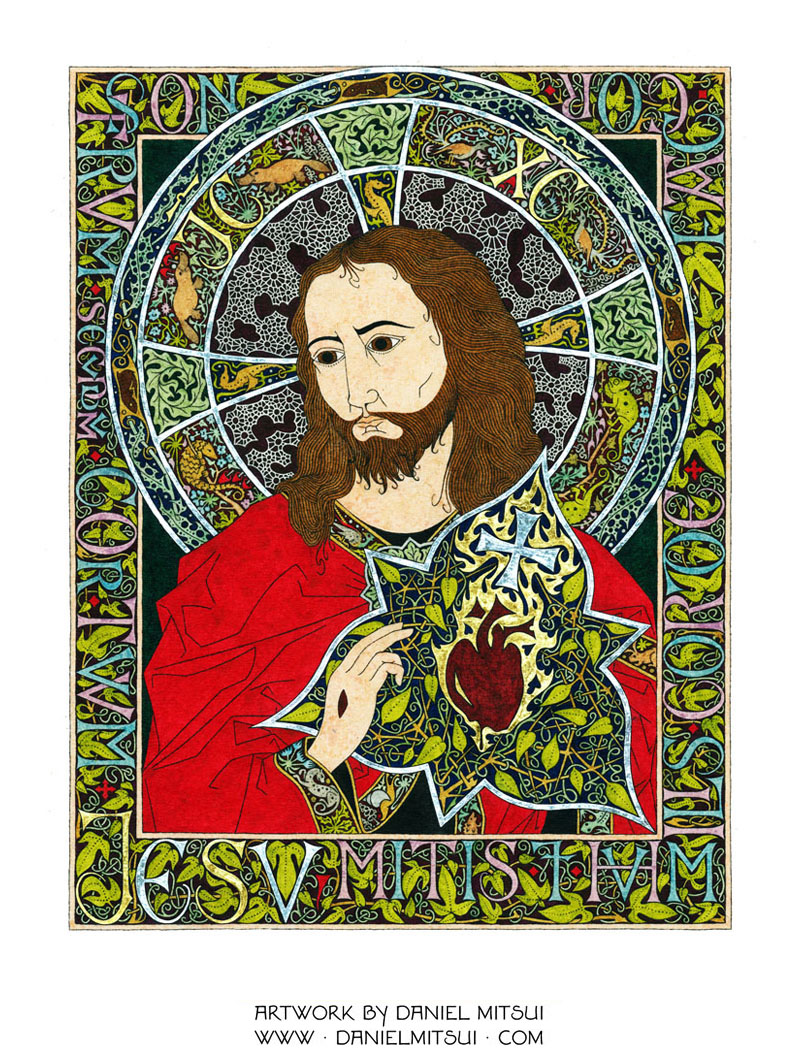 Sacred Heart Of Jesus Drawing By Daniel Mitsui